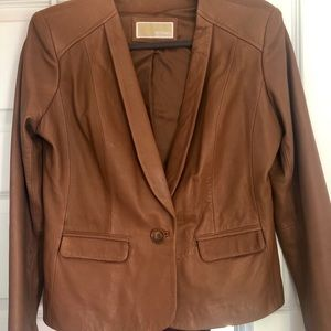 Brown Leather Jacket Michael Kors